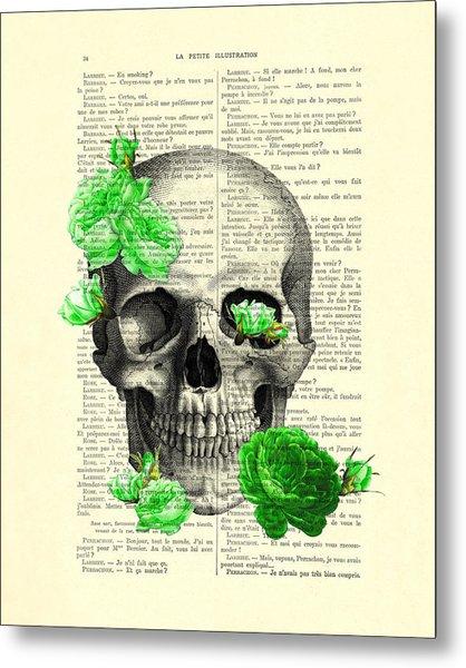 Skull And Green Roses Illustration Metal Print
