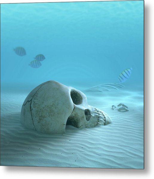 Skull On Sandy Ocean Bottom Metal Print