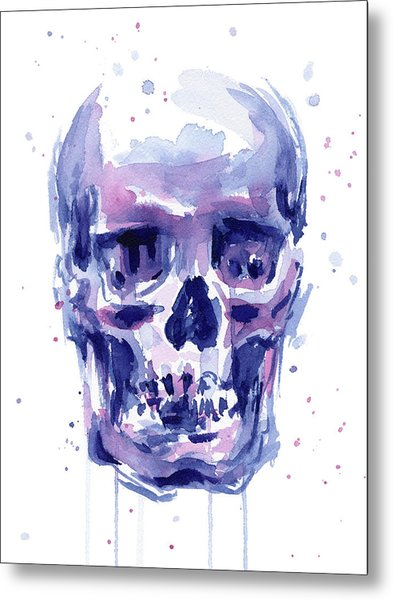 Skull Watercolor Metal Print