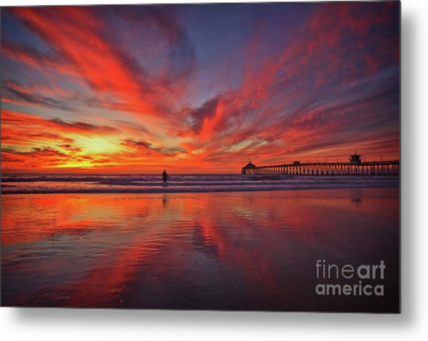 Sky On Fire At The Imperial Beach Pier Metal Print