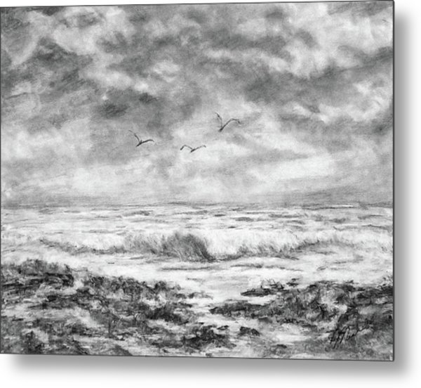 Sky Rocks And Water Metal Print