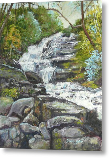 Sky Valley Waterfall Metal Print by Gloria Smith