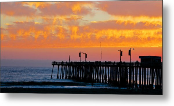 Skyfall At Pismo Beach Pier Metal Print