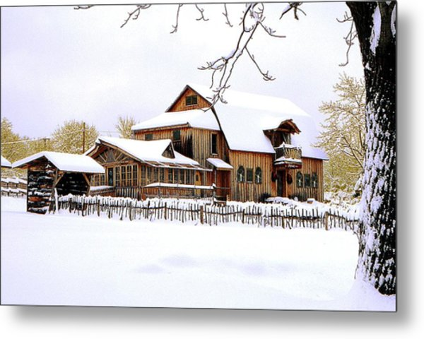Skyland Farms In Winter Metal Print