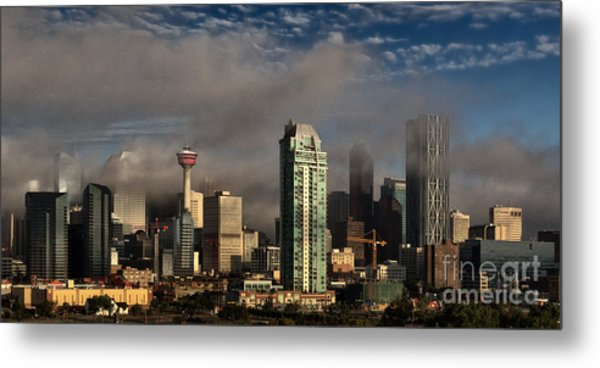 Skyline Fog Metal Print