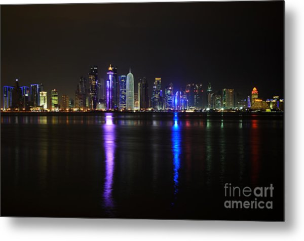 Skyline Of Doha, Qatar At Night Metal Print