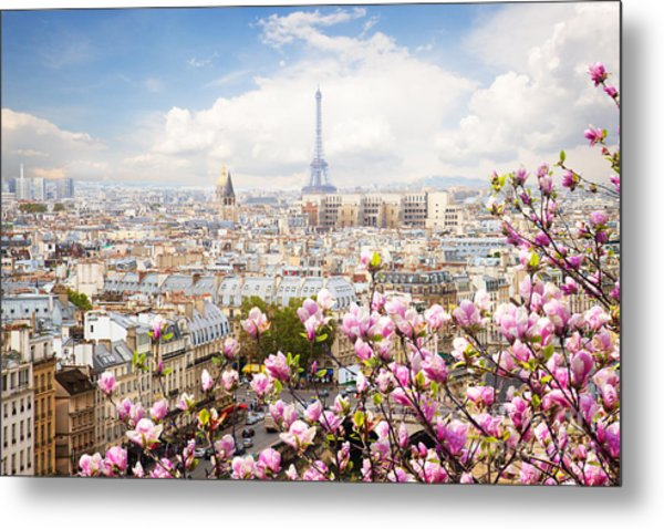 skyline of Paris with eiffel tower Metal Print