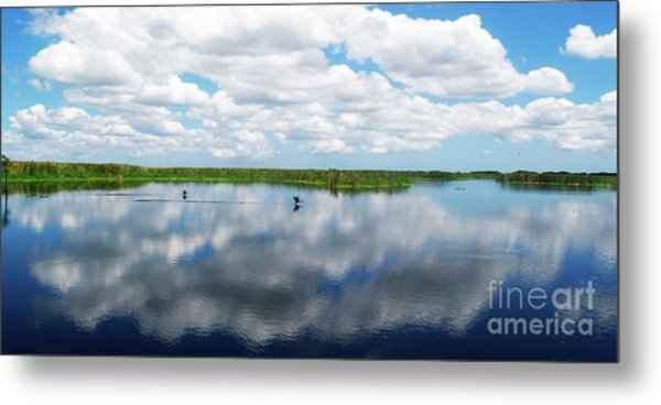 Skyscape Reflections Blue Cypress Marsh Conservation Area Near Vero Beach Florida C2 Metal Print