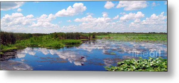 Skyscape Reflections Blue Cypress Marsh Near Vero Beach Florida C5 Metal Print