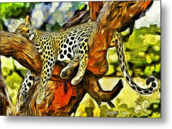 Sleeping Cheetah Metal Print