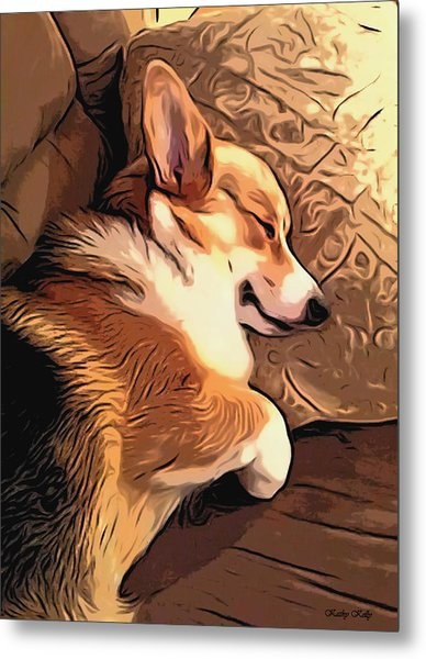 Banjo The Sleeping Welsh Corgi Metal Print