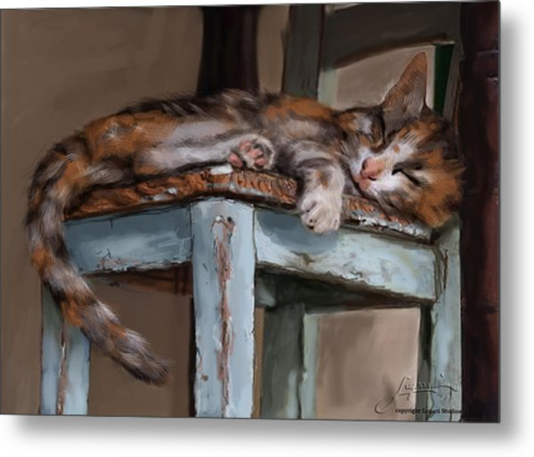 Metal Print featuring the painting Sleepting Cat by Thomas Lupari