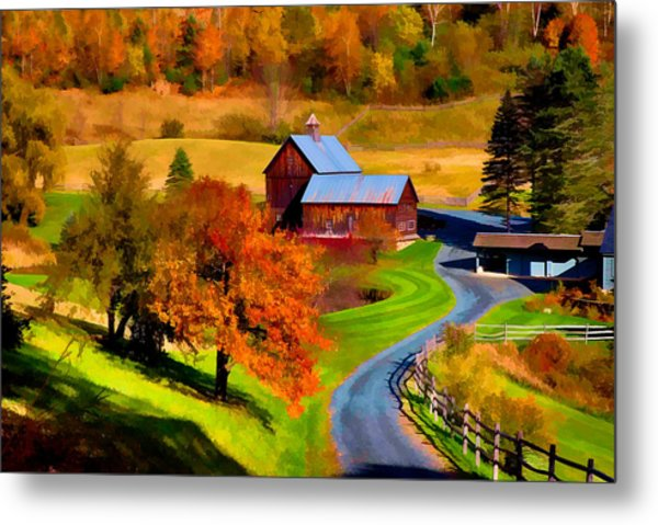 Digital Painting Of Sleepy Hollow Farm Metal Print