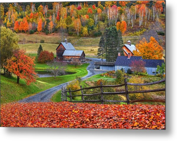 Sleepy Hollows Farm Woodstock Vermont Vt Autumn Bright Colors Metal Print