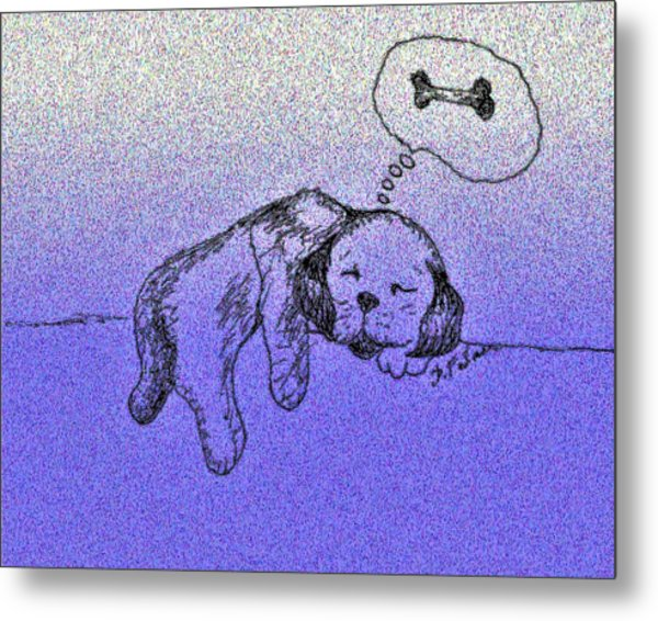 Sleepy Puppy Dreams Metal Print