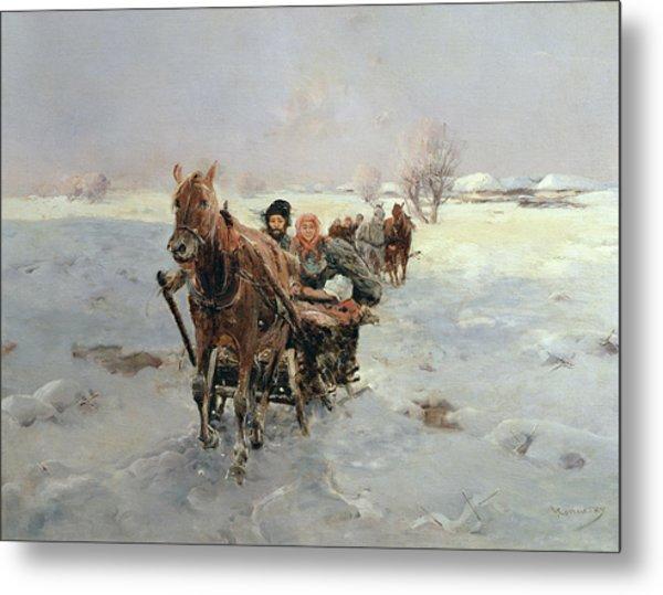 Sleighs In A Winter Landscape Metal Print