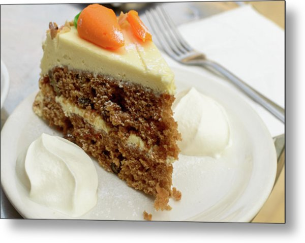 Metal Print featuring the photograph Slice Of Carrot Cake With Cream A by Jacek Wojnarowski