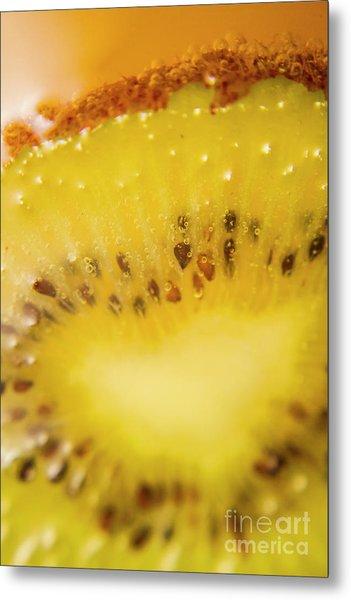 Sliced Kiwi Fruit Floating In Carbonated Beverage Metal Print