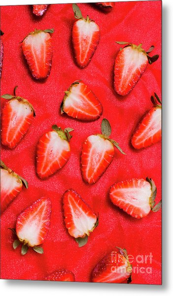 Sliced Red Strawberry Background Metal Print