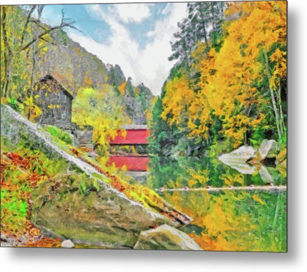 Metal Print featuring the digital art Slippery Rock Creek At Mcconnells Mill by Digital Photographic Arts
