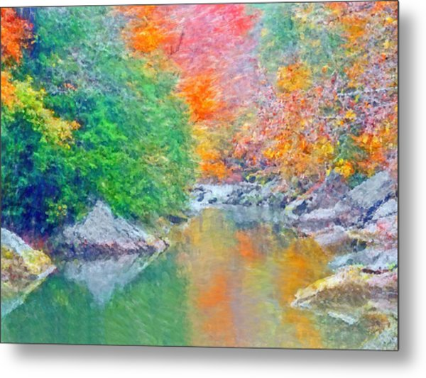Metal Print featuring the digital art Slippery Rock Creek In Autumn by Digital Photographic Arts
