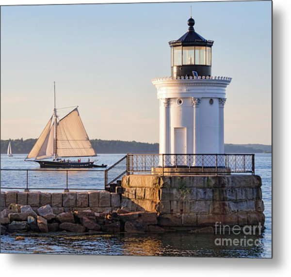Sloop And Lighthouse, South Portland, Maine  -56170 Metal Print