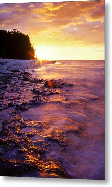 Metal Print featuring the photograph Slow Ocean Sunset by T Brian Jones