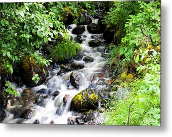 Small Alaskan Waterfall Metal Print