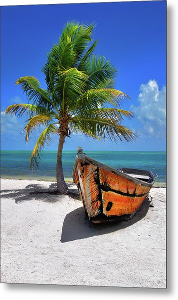 Small Boat And Palm Tree On White Sandy Beach In The Florida Keys Metal Print