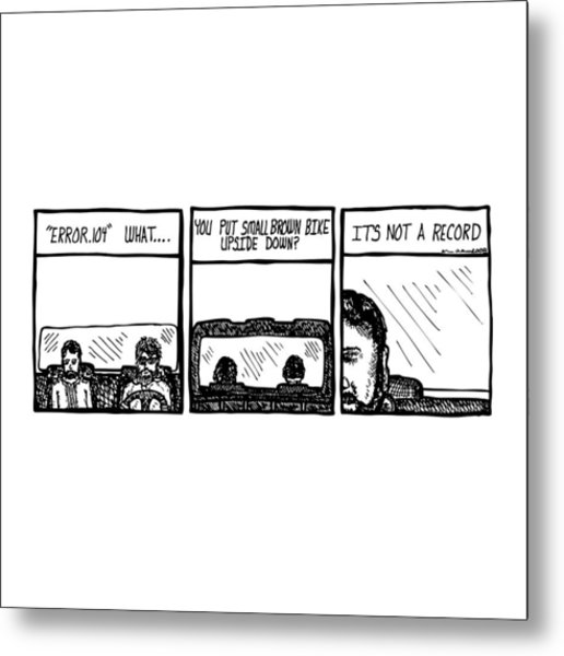 Small Brown Bike Comic Metal Print by Karl Addison