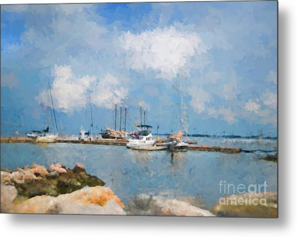 Small Dock With Boats Metal Print