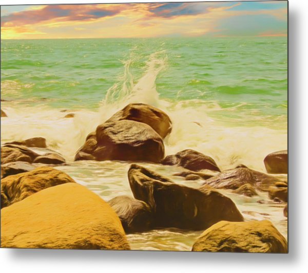Small Ocean Waves,large Rocks. Metal Print