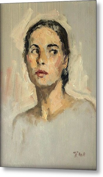Small Oil Painting Portrait Study Young Woman Metal Print