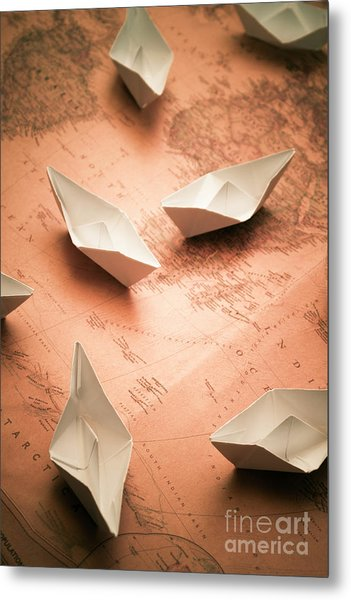 Small Paper Boats On Top Of Old Map Metal Print