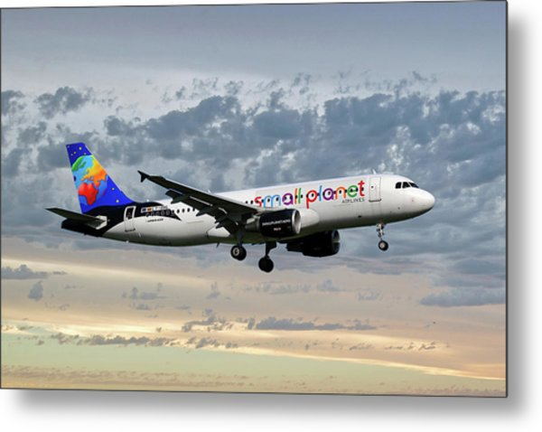 Small Planet Airlines Airbus A320-214 Metal Print