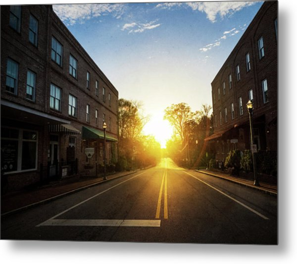Small Town Street Sunset Metal Print
