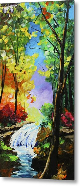 Metal Print featuring the painting Small Waterfall by Kevin  Brown
