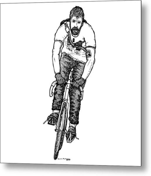 Smashing Bike Messenger Metal Print by Karl Addison
