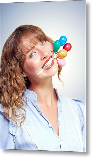 Smiling Party Person With Birthday Balloons Metal Print