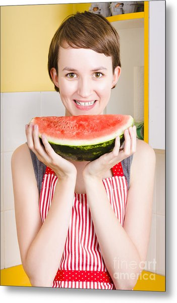 Smiling Young Woman Eating Fresh Fruit Watermelon Metal Print