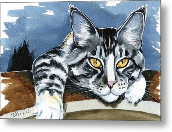 Smilla - Maine Coon Cat Painting Metal Print