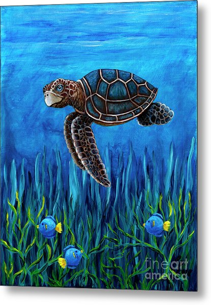 Smirking Turtle Metal Print