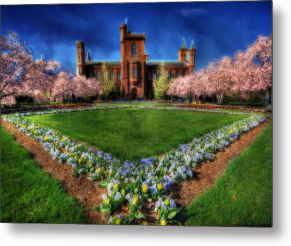 Spring Blooms In The Smithsonian Castle Garden Metal Print