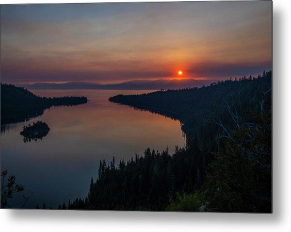 Smoke-diffused Sun At Emerald Bay Metal Print