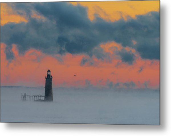 Smokey Sunrise At Ram Island Ledge Light Metal Print