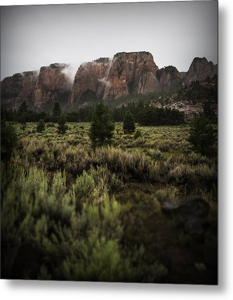 Smoking Mountains Metal Print