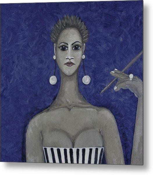 Smoking Woman 3 - Blue Metal Print