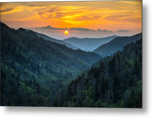 Smoky Mountains Sunset - Great Smoky Mountains Gatlinburg Tn Metal Print
