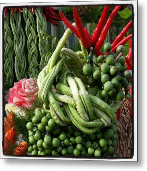 Metal Print featuring the photograph Snake Beans. At The Surin Elephant by Mr Photojimsf