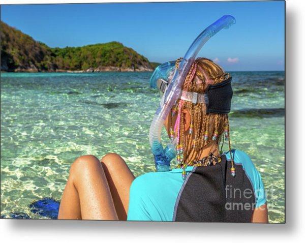 Snorkeler Relaxing On Tropical Beach Metal Print